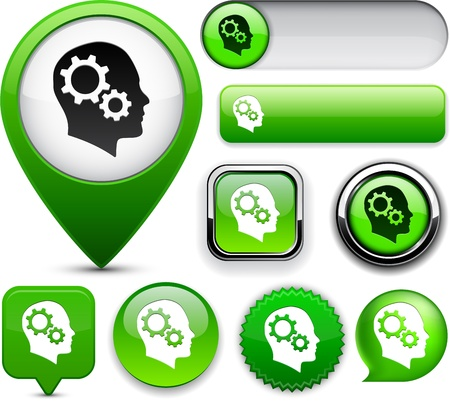 Thinking  green design elements for website or app  Vector eps10