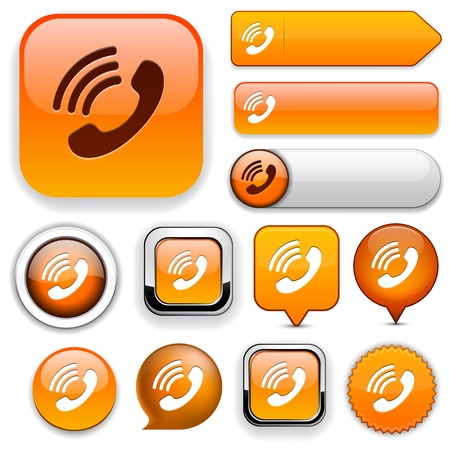 Phone orange design elements for website or app  Vector eps10  Stock Vector - 12808532