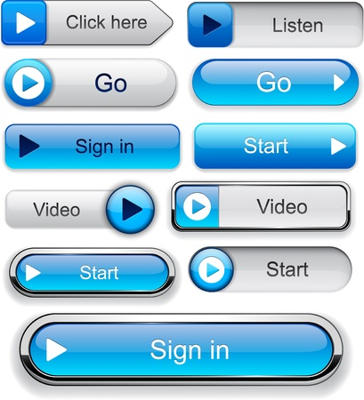 go button: Play blue web buttons for website or app  Vector eps10