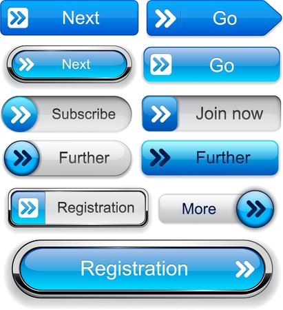 Elementi di design Forward blu per sito web o un'applicazione Vector eps10