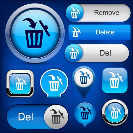 Dustbin blue design elements for website or app  Vector eps10