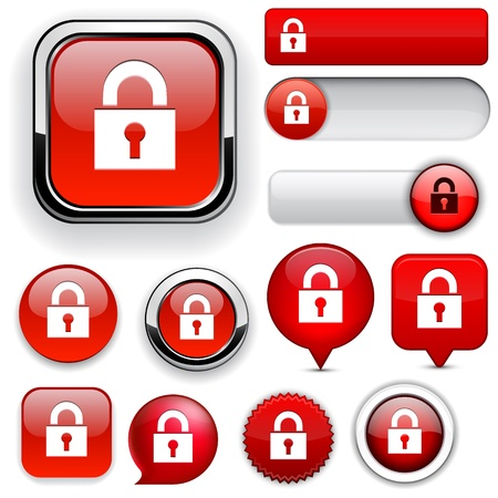 Lock red design elements for website or app  Vector eps10   Vector