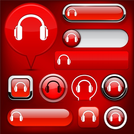 Headphones red design elements for website or app  Vector eps10  Stock Vector - 12808617