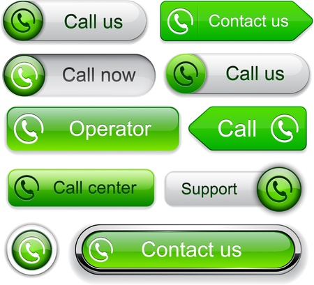 Call green web buttons for website or app  Vector eps10   Vector
