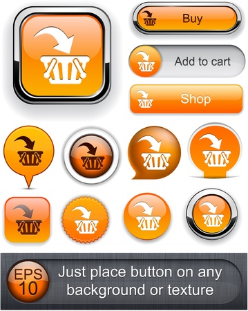 Buy web orange buttons for website or app  Vector eps10 Stock Vector - 12808587