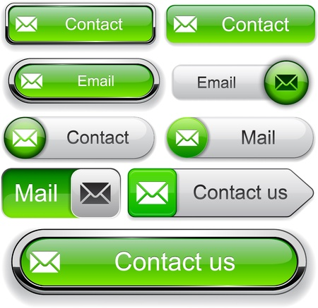 E-Mail elementi di design verdi per il sito web o un'applicazione. Vector eps10. Vettoriali