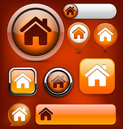 Home orange design elements for website or app. Vector eps10.  Vector