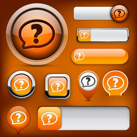 FAQ orange design elements for website or app. Vector eps10. Vector