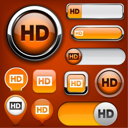 rounded squares: HD orange design elements for website or app. Vector eps10.