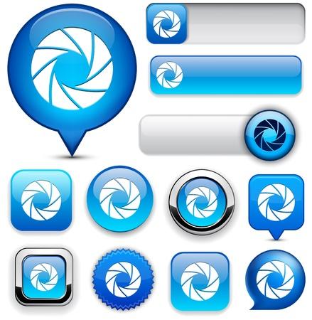shutters:  Aperture blue design elements for website or app. Vector eps10.