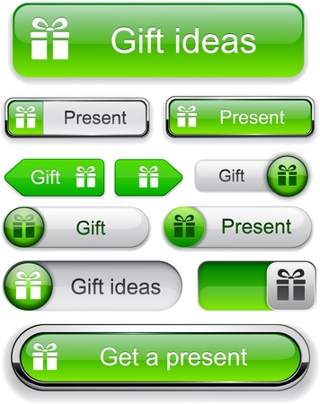 Gift green web buttons for website or app. Vector eps10.