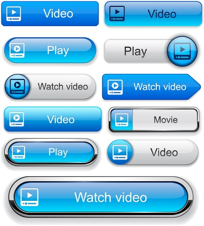 Video blue web buttons for website or app  Vector eps10   Vector