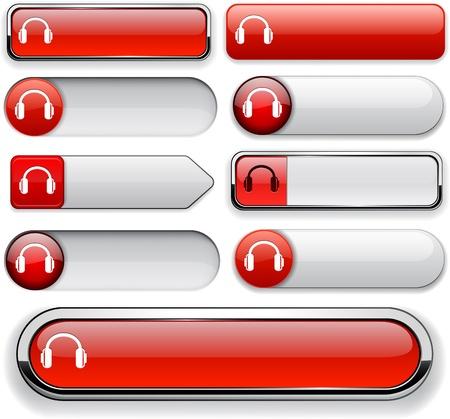 Headphones red design elements for website or app  Vector eps10 Stock Vector - 12856607