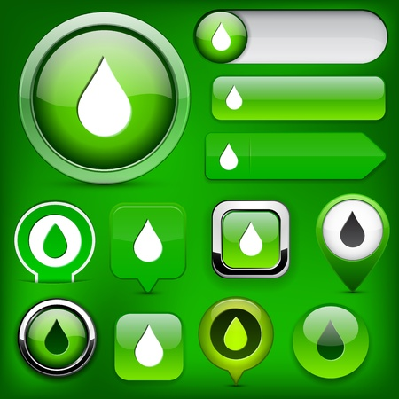 Droplet green design elements for website or app  Vector eps10 Stock Vector - 12856682