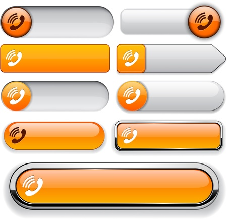 Phone orange design elements for website or app  Vector eps10   Vector