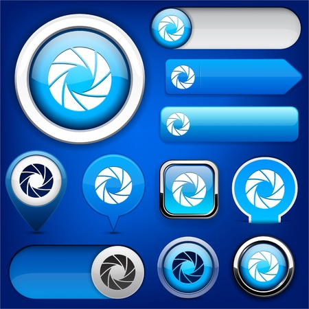 Aperture blue design elements for website or app  Vector eps10  Vector