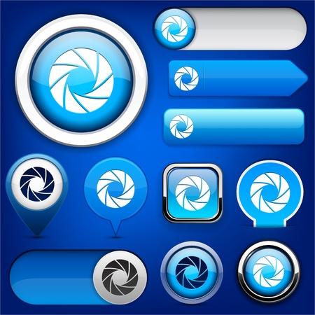 Aperture blue design elements for website or app  Vector eps10  Vector