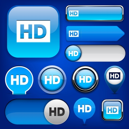 HD blue design elements for website or app. Vector eps10. Vector