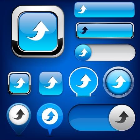 uploading: Carica elementi di design blu per sito web o un'applicazione.