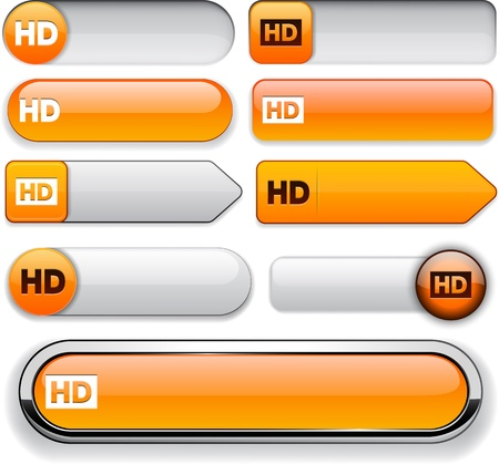 HD orange design elements for website or app. Vector