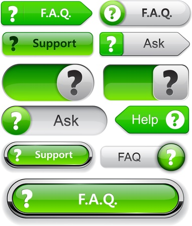 FAQ green web buttons for website or app. Stock Vector - 13000097