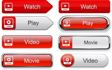 website buttons: Video web buttons for website or app