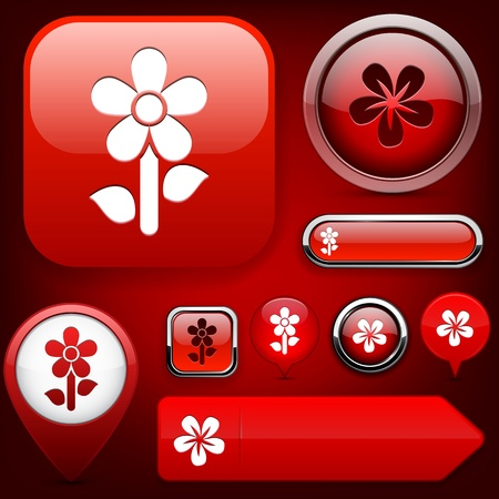 Flower red web buttons for website or app Vector