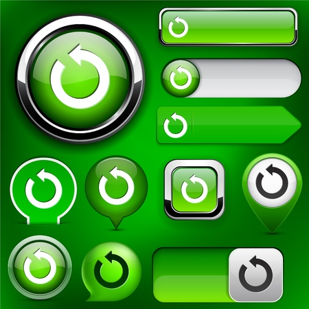 Rotate green design elements for website or app Vector