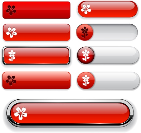 Flower red web buttons for website or app Stock Vector - 13165912
