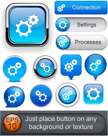 Controls blue design elements for website or app Vector