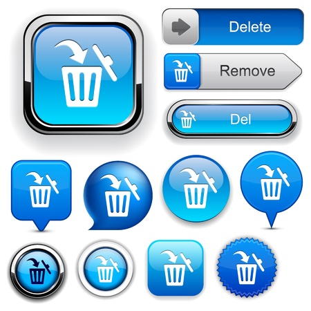 Dustbin blue design elements for website or app Vector