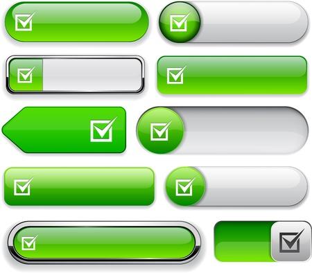 Éléments de conception écologique Checkmark pour le site Web ou une application Vecteurs