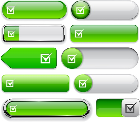 Checkmark green design elements for website or app Vector
