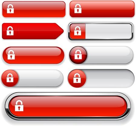 Lock red design elements for website or app Vector