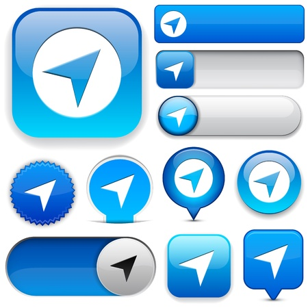 Navigation blue design elements for website or app Vector