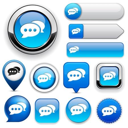 feedback label: Forum blue design elements for website or app