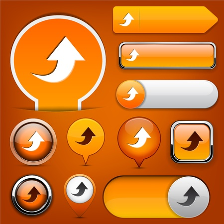 Upload orange design elements for website or app Vector