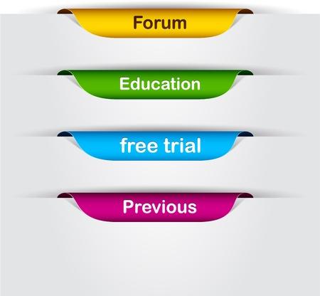 Etiquetas de papel multicolores vectoriales con texto