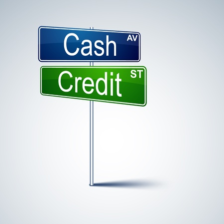 Vector direction road sign with cash credit words