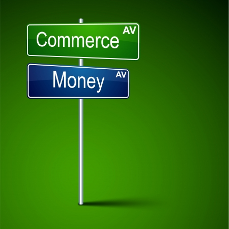Vector direction road sign with commerce money words   Vector