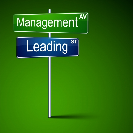 leading: Vector direction road sign with management leading words  Illustration