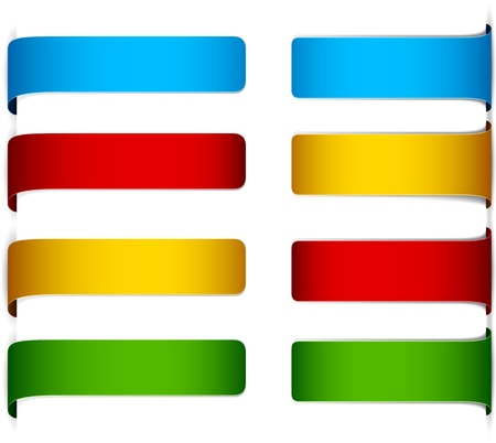 horizontal banner: set of multicolored paper labels.