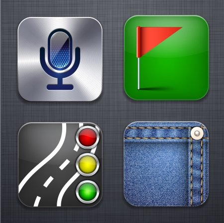 illustration of high-detailed apps icon set over linen texture.  Vector