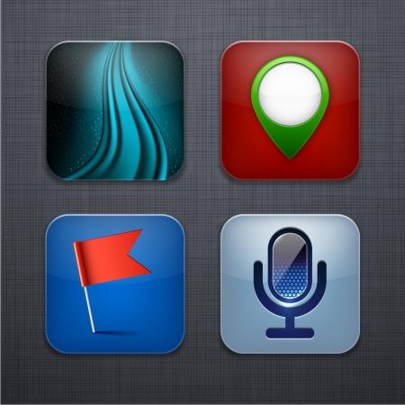 linen texture: Ilustraci�n vectorial de alta detallada icono de las aplicaciones que se distribuyen en la textura de lino.