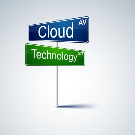 green road sign: direction road sign with cloud technology words.