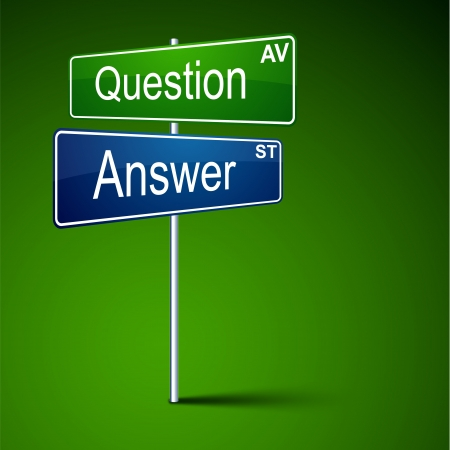 direction road sign with question answer words. Vector