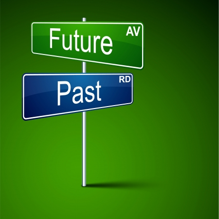 direction road sign with future past words.  Vector