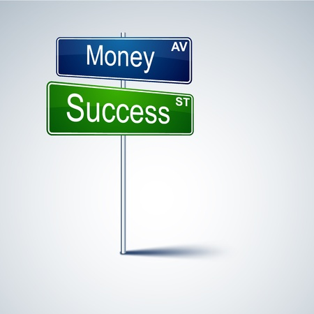 direction road sign with money success words.