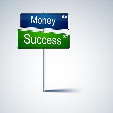 panneau routier direction avec des mots de réussite de l'argent.
