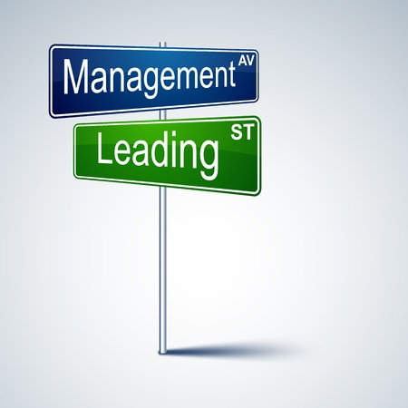 leading: direction road sign with management leading words